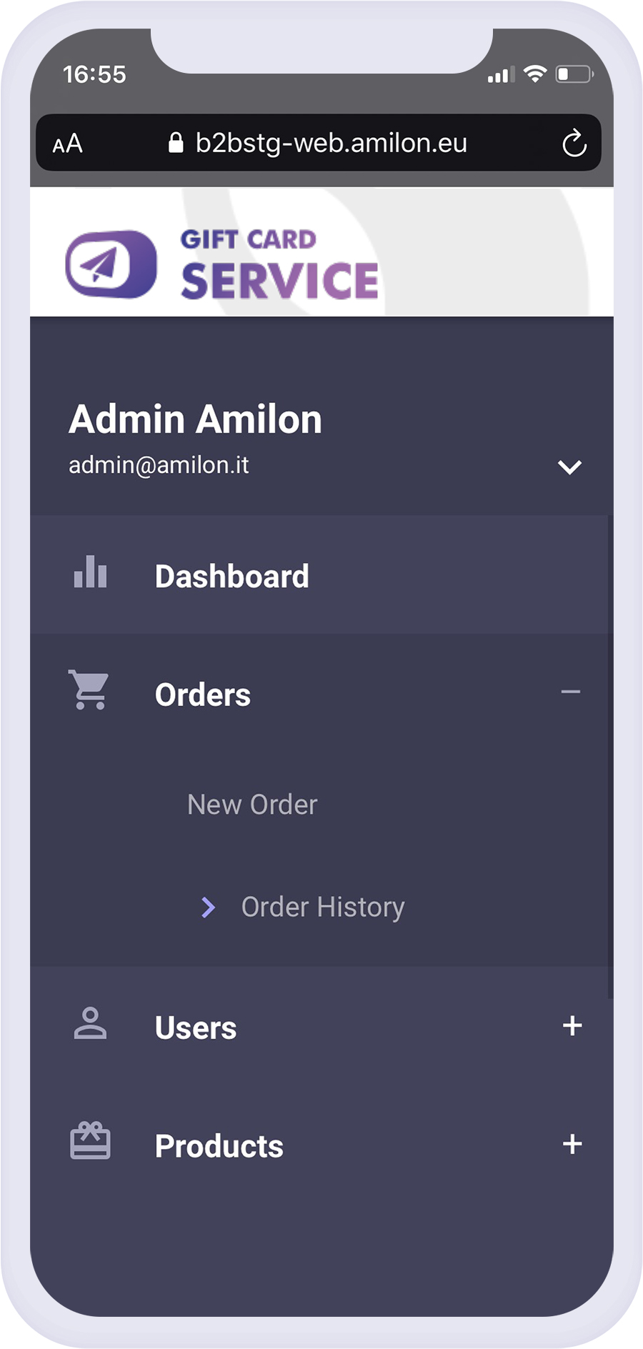 Amilon Gift Card Service: allowing merchants to directly sell their own gift cards