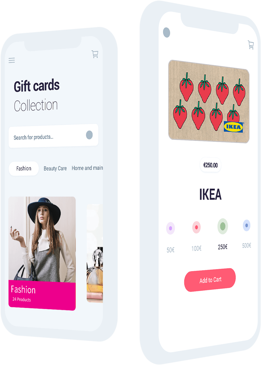 Amilon Fashion category of gift cards and gift card product page
